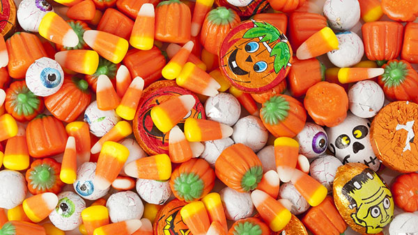 close-up image of Halloween candy