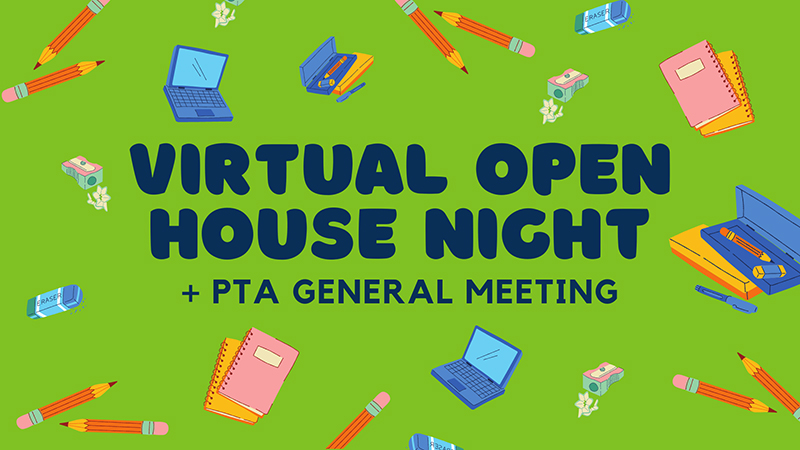 Douglas Elementary Virtual Open House and PTA General Meeting graphic